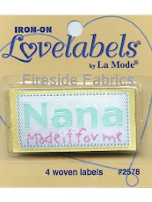 4 LABELS - NANA MADE IT FOR ME - IRON ON